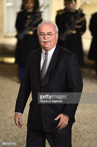 French group Total CEO Christophe de Margerie arrives at the Elysee Palace for an official dinner hosted by French President Francois Hollande as...