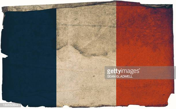 french grunge flag poster - old fashioned stock pictures, royalty-free photos & images