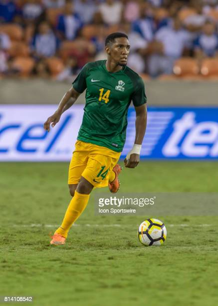 French Guiana defender Gregory Lescot looks for an open player during the CONCACAF Gold Cup Group A match between Honduras and French Guiana on July...