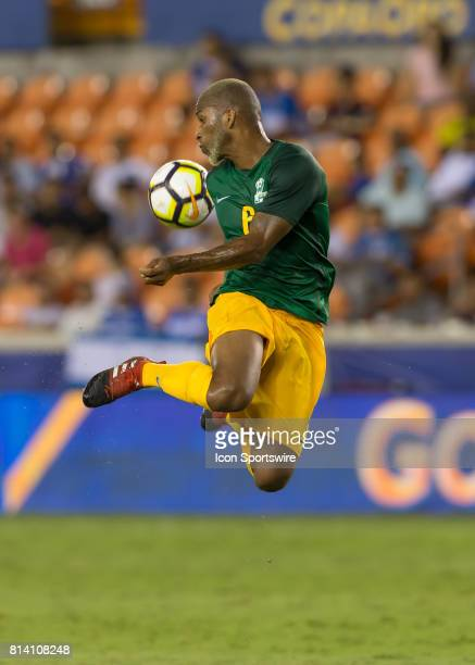 French Guiana defender Kevin Rimane leaps to trap the ball during the CONCACAF Gold Cup Group A match between Honduras and French Guiana on July 11...