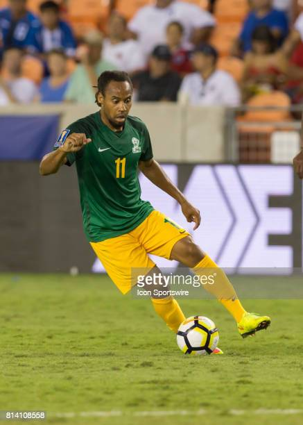 French Guiana forward Roy Contout traps the ball during the CONCACAF Gold Cup Group A match between Honduras and French Guiana on July 11 2017 at...