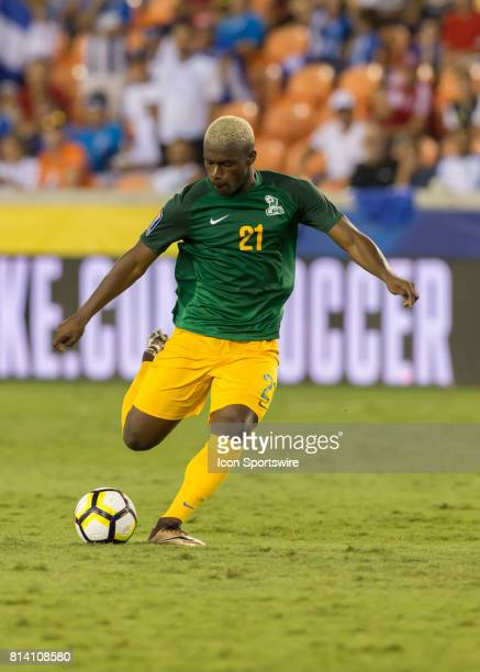 French Guiana forward Schaquille Dutard prepares to cross the ball during the CONCACAF Gold Cup Group A match between Honduras and French Guiana on...