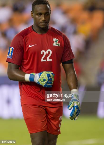 French Guiana goalkeeper Donovan Leon reacts after deflecting a corner kick attempt during the CONCACAF Gold Cup Group A match between Honduras and...