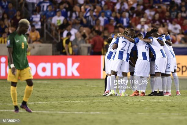 French Guiana players huddle before the start of the Honduras vs French Guiana 2017 CONCACAF Gold Cup match at the BBVA Compass Stadium July 11 2017...