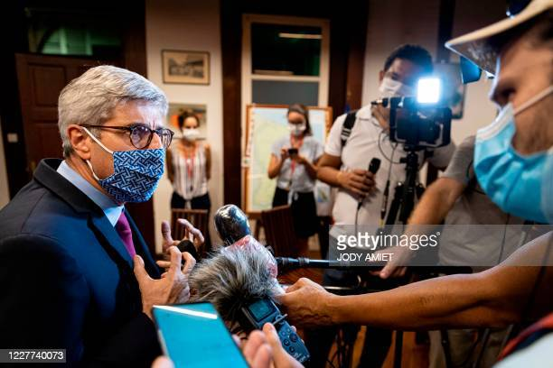 French Guiana prefect Marc Del Grande answers media at the Prefecture of Guiana after a meeting about the COVID19 crisis between representatives of...