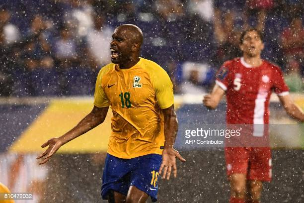 French Guiana's forward Sloan Privat celebrates after scoring a goal against Canada during their 2017 Concacaf Gold Cup Group A match at the Red Bull...