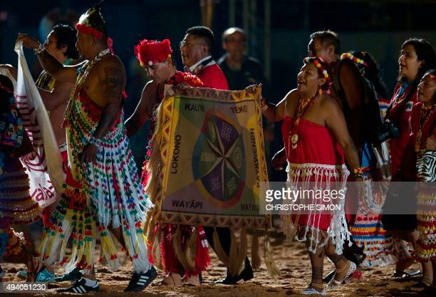 French Guiana's natives take part in the I World Indigenous Games opening ceremony in Palmas Tocantins on October 23 2015 AFP PHOTO / CHRISTOPHE SIMON