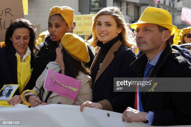 French gynaecologist Chrysoula Zacharopoulou French singer Imany the president of Endomind association Nathalie Clary actress Julie Gayet and MP and...