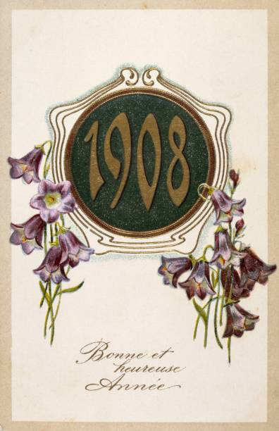 french happy new year postcard 1908