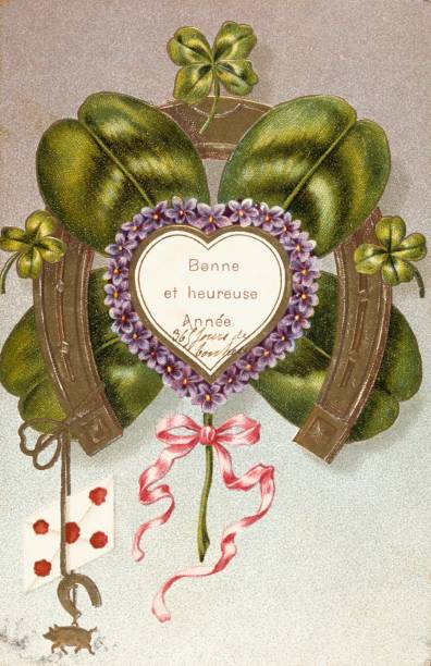 french happy new year postcard depicting a horseshoe for luck 1900