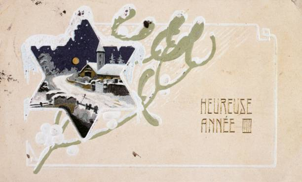 french happy new year postcard depicting a snow scene circa 1900