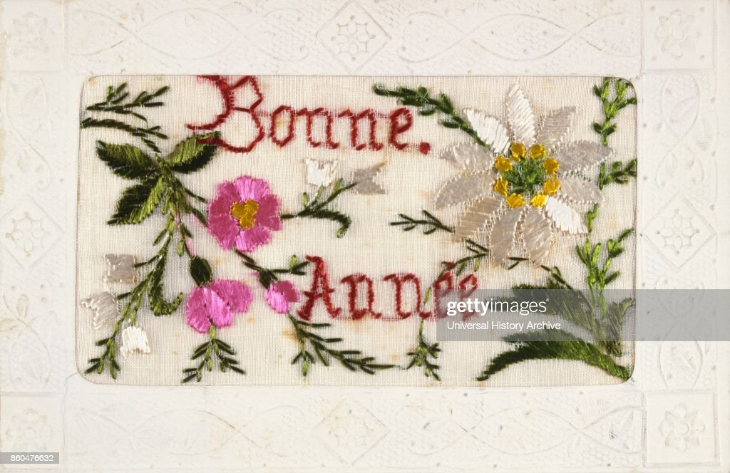 french happy new year postcard depicting embroidered flowers circa 1900