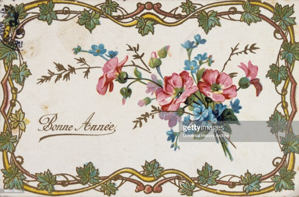 french happy new year postcard depicting flowers 1900 news photo