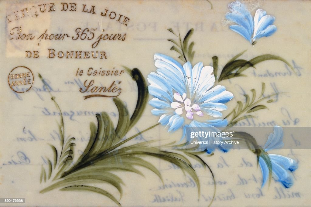 French Happy New Year, postcard depicting hand painted blue flowers ...