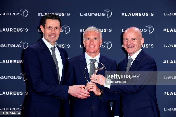 French Head Coach Dider Deschamps and his goalkeeper coach Franck Raviot assistant coach Guy Stephanon Winners of the Laureus World Team Of the Year...