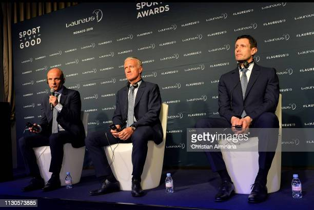 French Head Coach Dider Deschamps and his goalkeeper coach Franck Raviot assistant coach Guy Stephanon of the French World Cup Team winners of the...