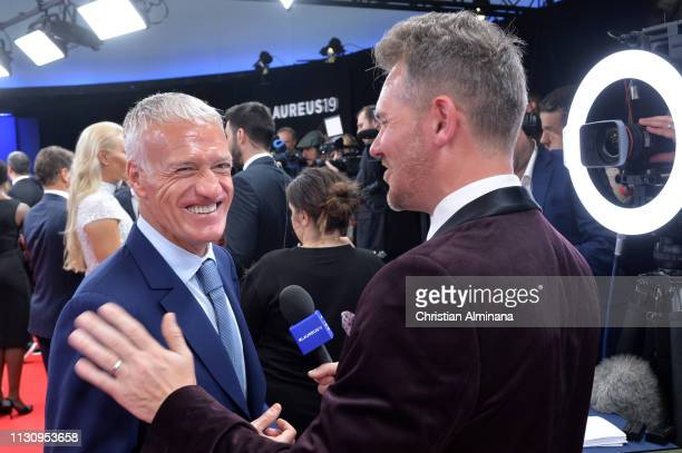 French Head Coach Dider Deschamps nominee for Laureus World Team Of the Year talks to the media during the 2019 Laureus World Sports Awards on...