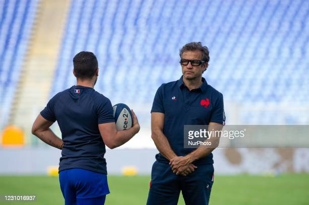 French Head Coach Fabien Galthié looks on during warm up before the 2021 Guinness Six Nations Rugby Championship match between Italy and France at...