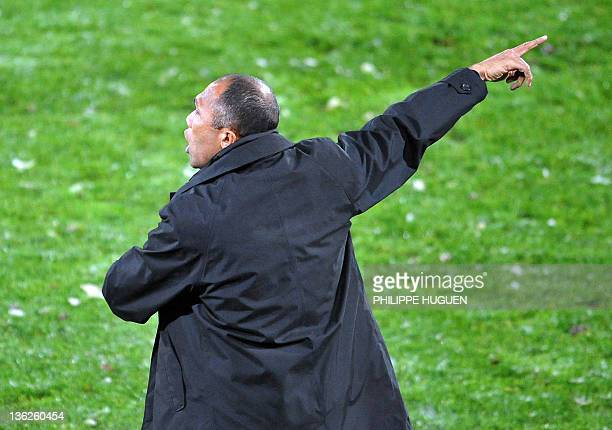 French head coach of Valenciennes Antoine Kombouare gestures during the French L1 football match Valenciennes vs Sochaux on November 22 2008 at...