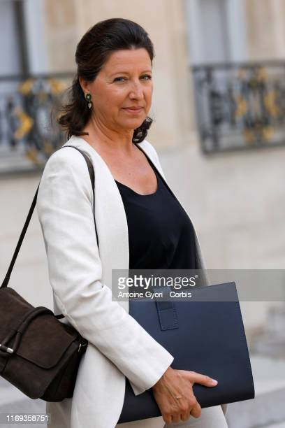 French Health and Social Affairs Minister Agnes Buzyn leaves the Elysee Presidential Palace after a weekly cabinet at Elysee Palace on August 21 2019...