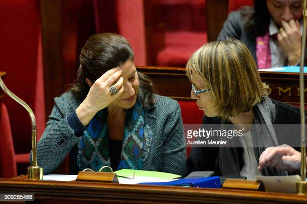 French Health and Solidarity Minister Agnes Buzyn and French Minister of Culture Francoise Nyssen reacts as Ministers answer deputies' questions...