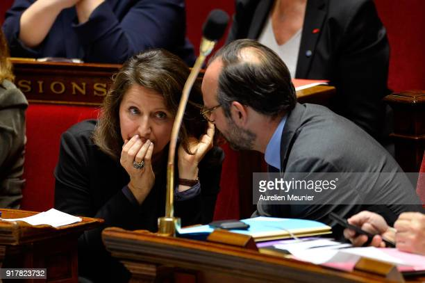 French Health and Solidarity Minister Agnes Buzyn and French Prime Minister Edouard Philippe reacts as Ministers answer deputies questions during the...