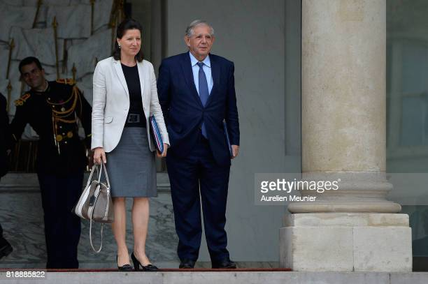 French Health and Solidarity Minister Agnes Buzyn and Jacques Mezard leave the Elysee Palace after the weekly cabinet meeting with French President...