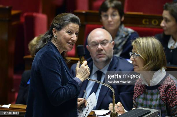 French Health and Solidarity Minister Agnes Buzyn answers deputies questions during the weekly session of questions to the government at Assemblee...