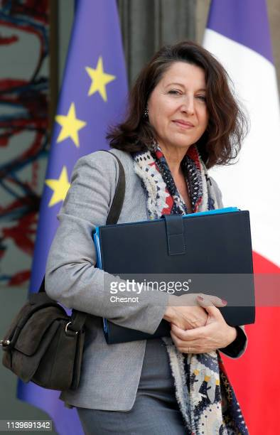 French Health and Solidarity Minister Agnes Buzyn leaves the Elysee Presidential Palace following the weekly cabinet meeting on April 01 2019 in...