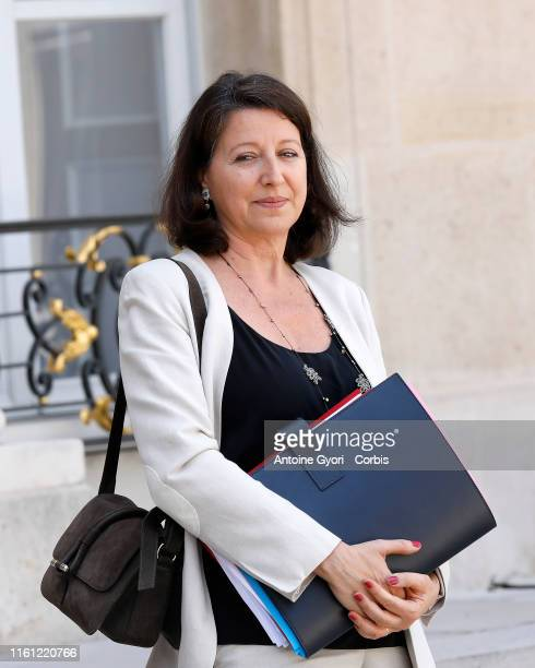French Health and Solidarity Minister Agnes Buzyn leaves the weekly cabinet meeting at the Elysee Presidential palace on July 10 2019 in Paris France...