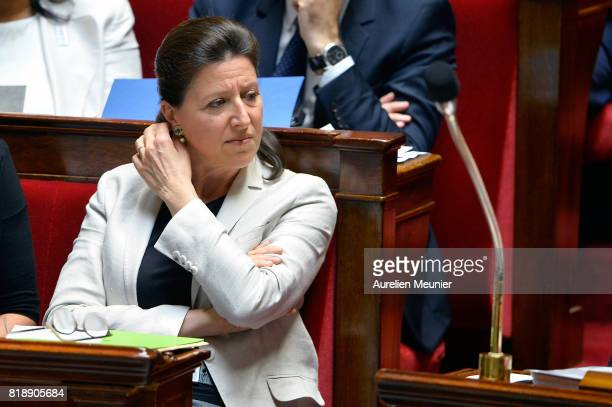 French Health and Solidarity Minister Agnes Buzyn reacts as Ministers answer deputies during the weekly questions to the government at Assemblee...