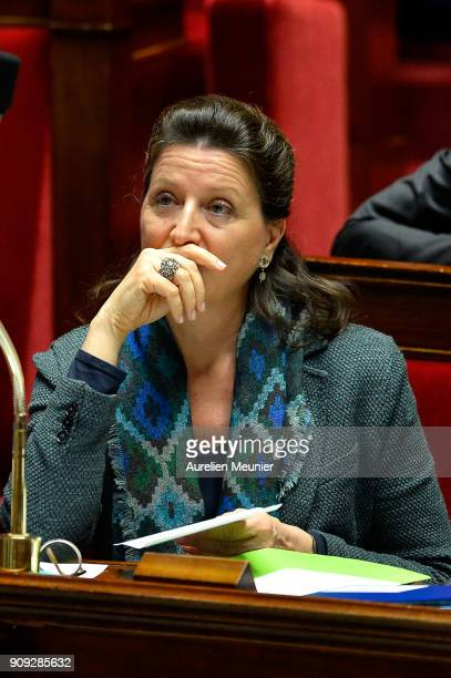French Health and Solidarity Minister Agnes Buzyn reacts as Ministers answer deputies' questions during a session of questions to the Government at...