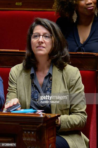 French Health and Solidarity Minister Agnes Buzyn reacts as Ministers answer deputies questions during the weekly session of questions to the...