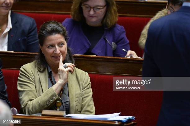 French Health and Solidarity Minister Agnes Buzyn reacts as Ministers answer deputies during a session of questions to the government at Assemblee...