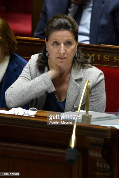 French Health and Solidarity Minister Agnes Buzyn reacts as Ministers answer deputies during the weekly session of questions to the government at...