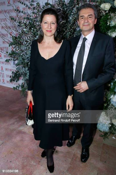 French Health Minister Agnes Buzyn and her husband professor Yves Levy attend the 16th Sidaction as part of Paris Fashion Week on January 25 2018 in...