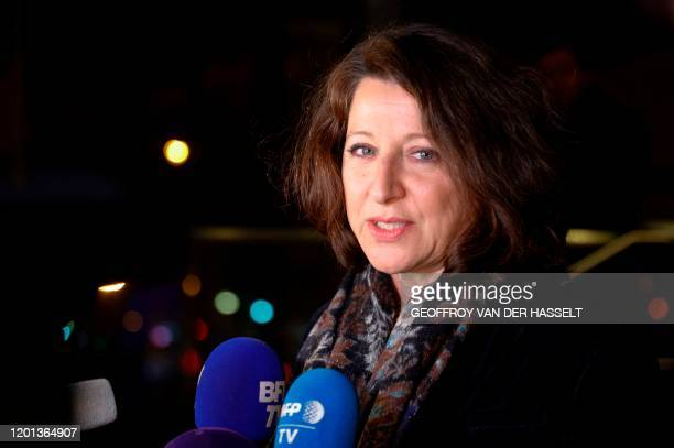 French Health Minister Agnes Buzyn announces her resignation as she leaves the Health Ministry in Paris on February 16 after she had been chosen by...