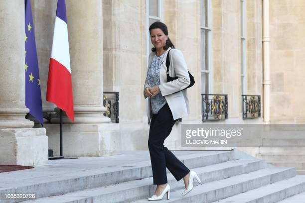 French Health minister Agnes Buzyn arrives at the Elysee palace in Paris on September 18 for the presentation of the plan for hospital by French...