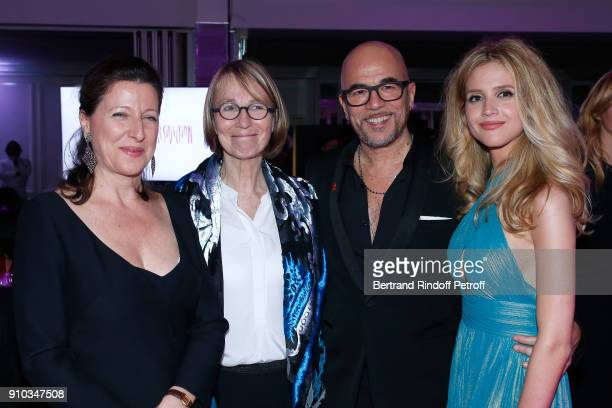 French Health Minister Agnes Buzyn French Ministre of Culture Francoise Nyssen Pascal Obispo and his wife Julie Obispo attend the 16th Sidaction as...