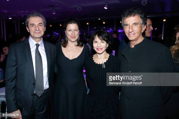 French Health Minister Agnes Buzyn with her husband professor Yves Levy and Jack lang with his wife Monique attend the 16th Sidaction as part of...