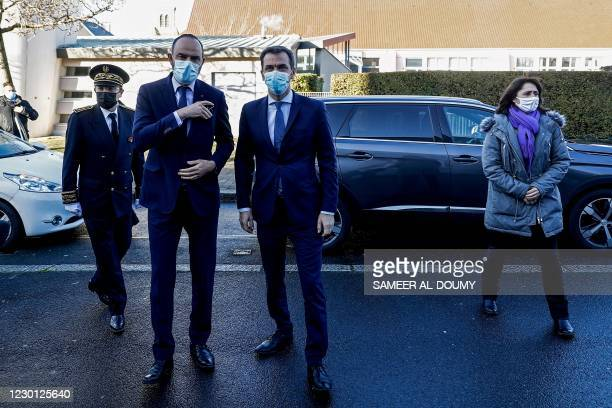 French Health Minister Olivier Veran , and Mayor of Le Havre Edouard Philippe visit an operation centre during the launching of a Covid-19 mass...