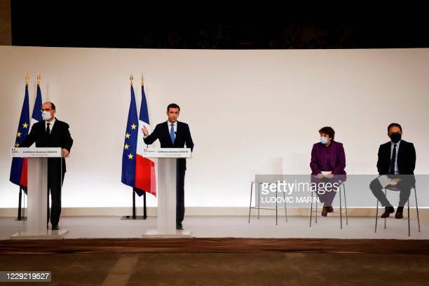 French Health Minister Olivier Veran delivers a speech next to French Prime Minister Jean Castex , French Culture Minister Roselyne Bachelot and...