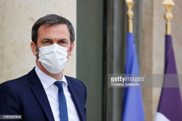 French Health Minister Olivier Veran looks on after taking part in the weekly cabinet meeting at The Elysee Presidential Palace in Paris on April 14,...