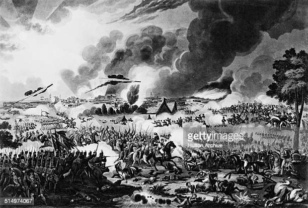 French heavy cavalry attacks the British line at the Battle of Waterloo during the Napoleonic War of the Seventh Coalition on 18th June 1815 at...