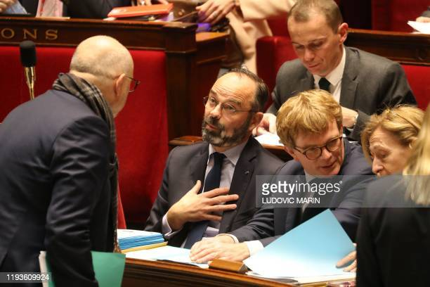 French High Commissioner for Pension Reform Laurent Pietraszewski speaks French Prime Minister Edouard Philippe flanked by French Junior Minister of...