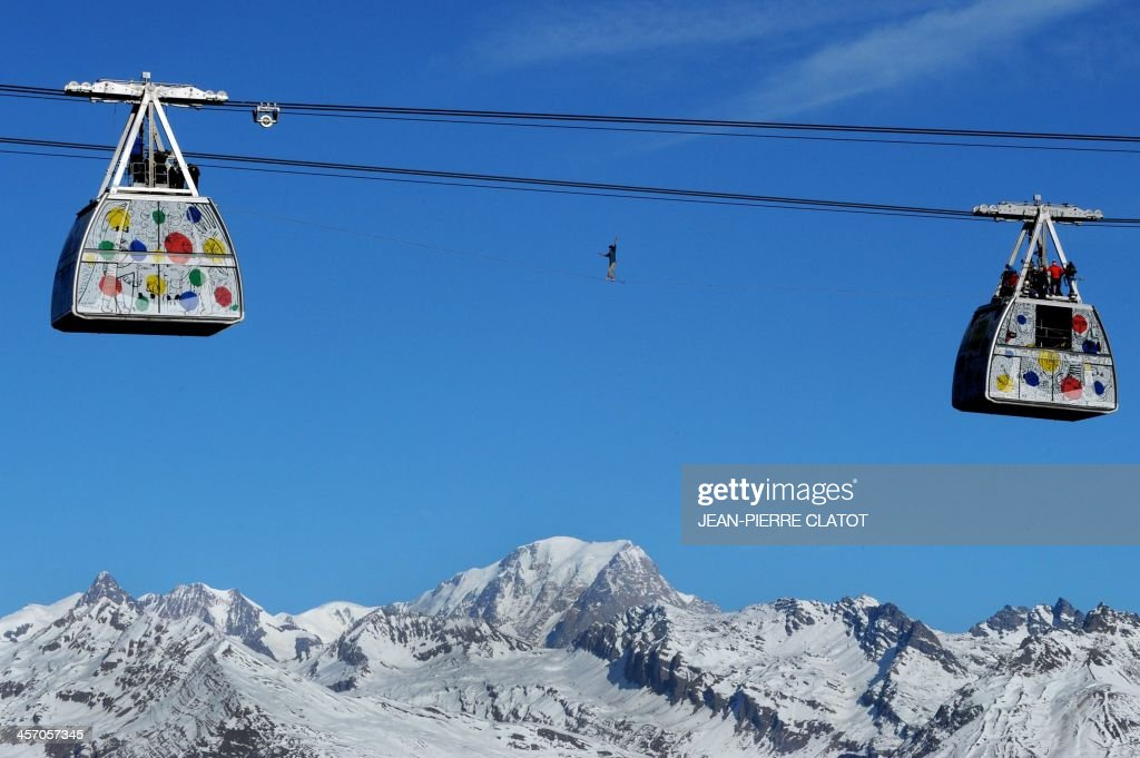The Vanoise Express is a double-decker cable car that links La Plagne with Les Arcs ski resorts in the Alps, France.