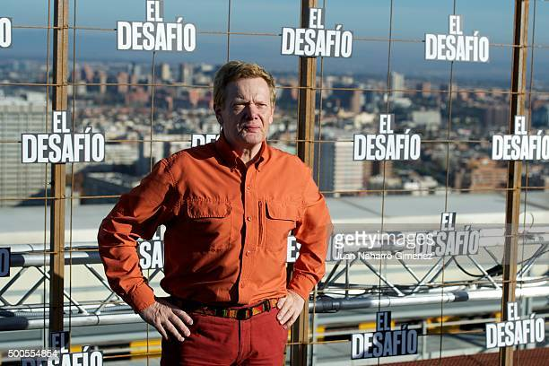 French Highwire artist Philippe Petit attends the 'El desafio' photocall at Picasso Building on December 9 2015 in Madrid Spain