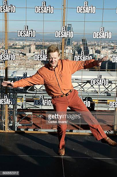 French Highwire artist Philippe Petit attends the El desafio photocall on December 9 2015 in Madrid Spain