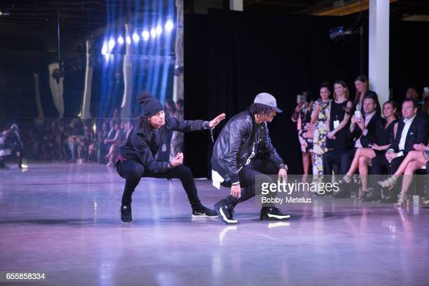 French HipHop Dancers 'Les Twins' preform on the Runway at Dwyane Wade's A Night on the Runwade Fashion Event at Revel Fulton Market on March 19th...
