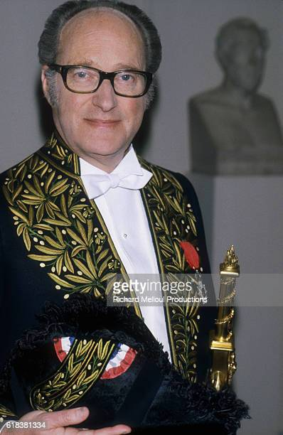 French historian Alain Decaux wears the official costume of the Academie Francaise in Paris He was elected to the Academie in 1979